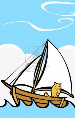 5550618-orange-chat-un-voyage-sur-un-bateau-en-mer